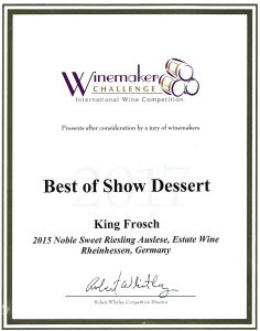 This Award Winning King Frosch Wine received two awards, Best of Show and Platinum at the Winemakers Challenge.